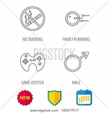 No smoking, family planning and game joystick icons. Male linear sign. Shield protection, calendar and new tag web icons. Vector