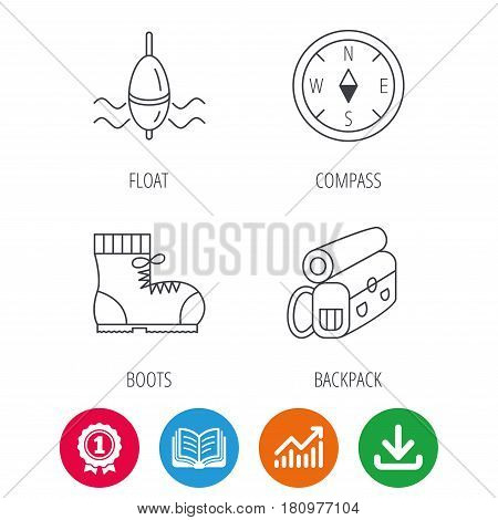 Compass, fishing float and hiking boots icons. Backpack linear sign. Award medal, growth chart and opened book web icons. Download arrow. Vector