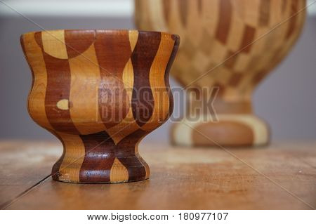 wood bowl close up patterns checkered table