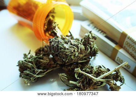 Marijuana Buds With Money Close Up High Quality