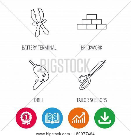 Wall, battery terminals and scissors icons. Drill tool linear sign. Award medal, growth chart and opened book web icons. Download arrow. Vector