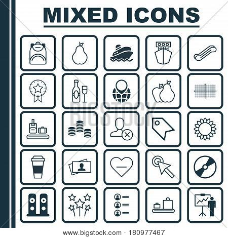 Set Of 25 Universal Editable Icons. Can Be Used For Web, Mobile And App Design. Includes Elements Such As Present Badge, Fruits, Duchess And More.