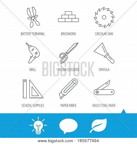 Paper knife, spatula and scissors icons. Circular saw, brickwork and drill tool linear signs. Multi-tool knife, rulers icons. Light bulb, speech bubble and leaf web icons. Vector