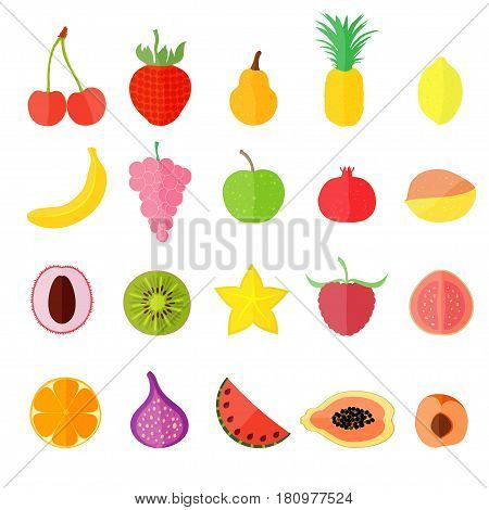 Set with Various Fruits such as cherry and banana, grape and apple, pomegranate and mango, lychee and kiwi, carambole and raspberry, guava and orange, fig and watermelon, papaya and apricot.