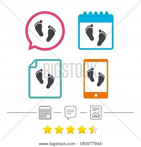 Child pair of footprint sign icon. Toddler barefoot symbol. Baby's first steps. Calendar, chat speech bubble and report linear icons. Star vote ranking. Vector