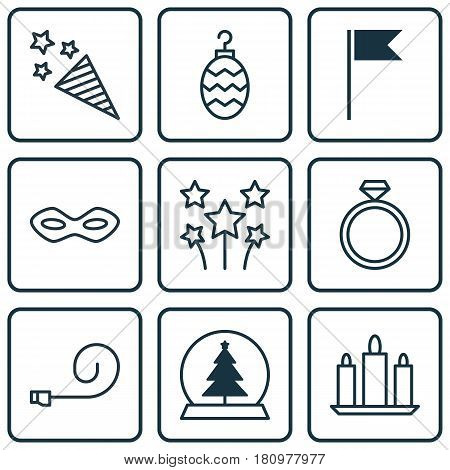 Set Of 9 Celebration Icons. Includes Firecracker, Christmas Toy, Celebrate Whistle And Other Symbols. Beautiful Design Elements.