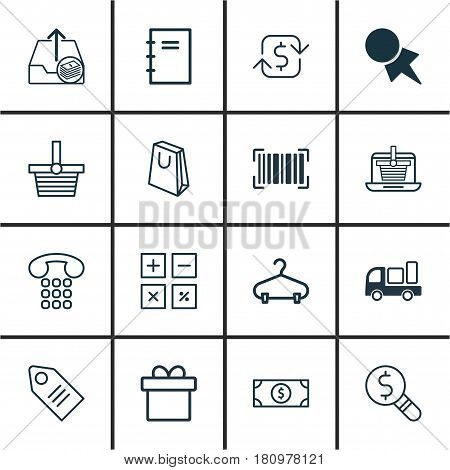 Set Of 16 Commerce Icons. Includes Pannier, Present, E-Trade And Other Symbols. Beautiful Design Elements.