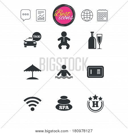 Chat speech bubble, report and calendar signs. Hotel, apartment service icons. Spa, swimming pool signs. Alcohol drinks, wifi internet and safe symbols. Classic simple flat web icons. Vector