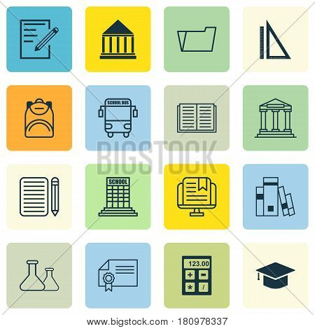 Set Of 16 School Icons. Includes Academy, Chemical, Home Work And Other Symbols. Beautiful Design Elements.