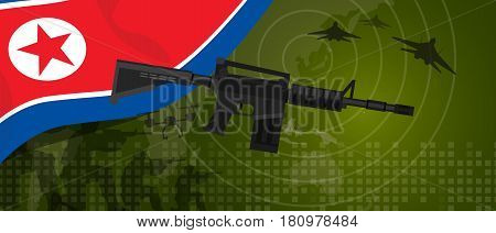 North Korea or Democratic People s Republic of Korea military power army defense industry war and fight country national celebration with gun soldier jet fighter and radar vector.