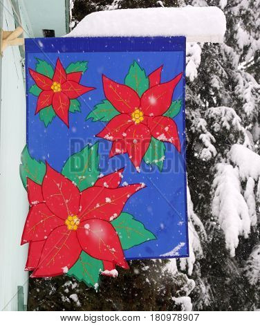 Cheerful Christmas Banner of bright red Poinsettias
