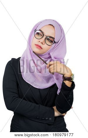 Beautiful modern Young Asian Muslim business womanisolated on white background.