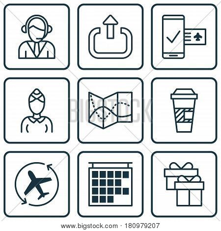 Set Of 9 Travel Icons. Includes Phone Reservation, Hostess, Departure Information And Other Symbols. Beautiful Design Elements.
