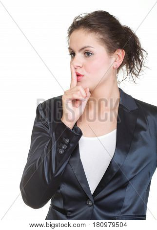 Young Business Woman Gesturing Silence Sign, Isolated