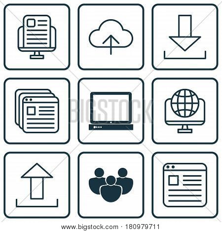 Set Of 9 World Wide Web Icons. Includes PC, Data Synchronize, Team And Other Symbols. Beautiful Design Elements.