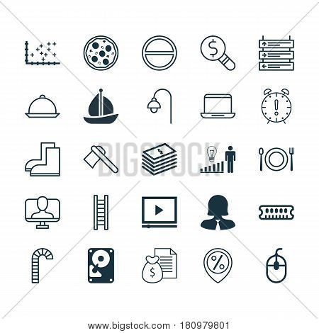 Set Of 25 Universal Editable Icons. Can Be Used For Web, Mobile And App Design. Includes Elements Such As Business Woman, Video Player, Plane Schedule And More.