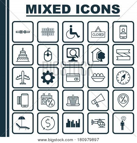 Set Of 25 Universal Editable Icons. Can Be Used For Web, Mobile And App Design. Includes Elements Such As Ovum, Money Trasnfer, Safety Belt And More.