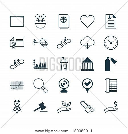 Set Of 25 Universal Editable Icons. Can Be Used For Web, Mobile And App Design. Includes Elements Such As Follow, Rich, Wireless Router And More.