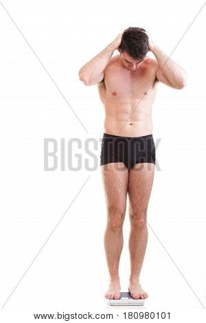 Healthy Young Man Man Standing On Scales Scale Isolated