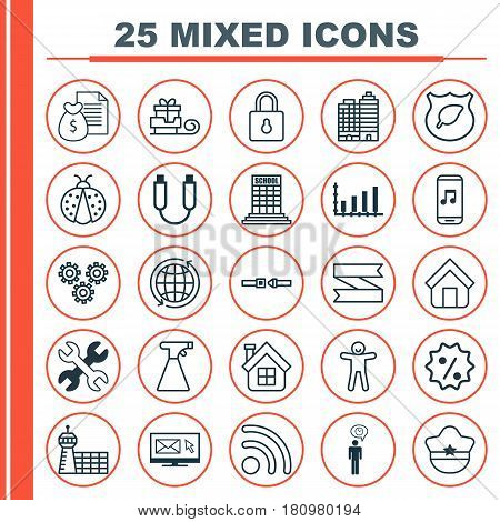 Set Of 25 Universal Editable Icons. Can Be Used For Web, Mobile And App Design. Includes Elements Such As Residential, Safety Belt, Dynamics And More.
