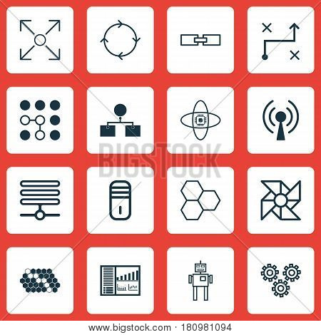 Set Of 16 Artificial Intelligence Icons. Includes Controlling Board, Cyborg, Information Base And Other Symbols. Beautiful Design Elements.
