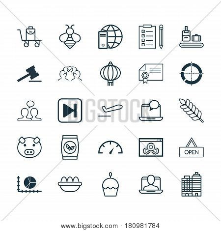 Set Of 25 Universal Editable Icons. Can Be Used For Web, Mobile And App Design. Includes Elements Such As Skip Song, Cooperation, Piglet And More.