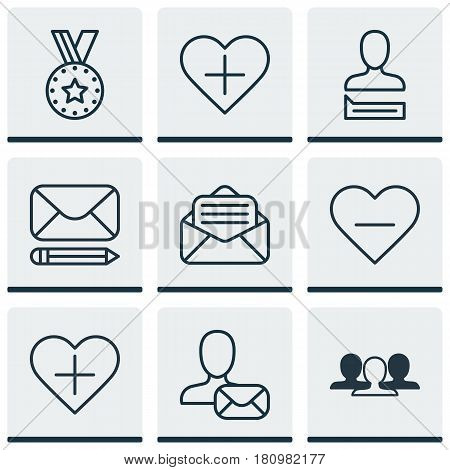 Set Of 9 Social Icons. Includes Chatting Person, Medal, Edit Mail And Other Symbols. Beautiful Design Elements.