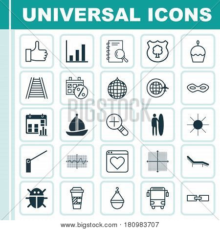 Set Of 25 Universal Editable Icons. Can Be Used For Web, Mobile And App Design. Includes Elements Such As Railroad, Surf-Board, College Transport And More.