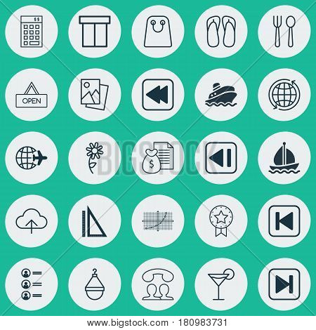 Set Of 25 Universal Editable Icons. Can Be Used For Web, Mobile And App Design. Includes Elements Such As World, Speaking People, Shipping Tour And More.