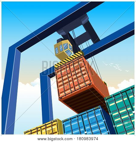 Vector illustration on a theme of a cargo transportation. Gantry crane for lifting containers