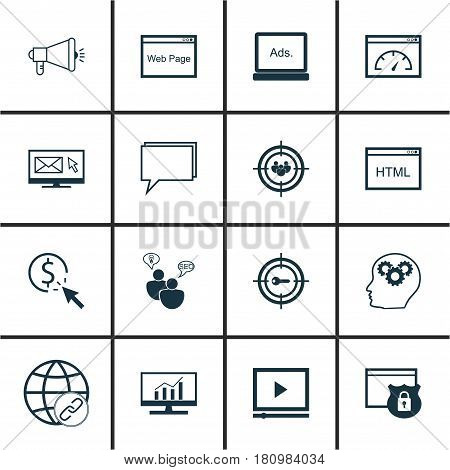 Set Of 16 Marketing Icons. Includes Intellectual Process, Loading Speed, Focus Group And Other Symbols. Beautiful Design Elements.