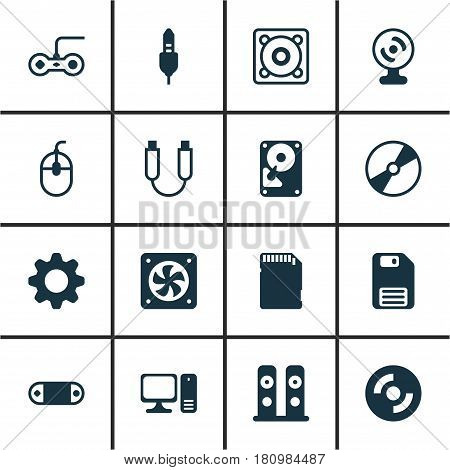 Set Of 16 Computer Hardware Icons. Includes Desktop Computer, Web Camera, Loudspeakers And Other Symbols. Beautiful Design Elements.