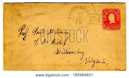 GOMEL, BELARUS - April 7, 2017: Old envelope which was dispatched from Virginia to Virginia, USA, January 9, 1907.