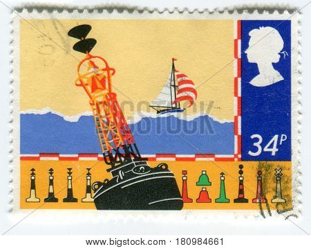 GOMEL, BELARUS, APRIL 9, 2017. Stamp printed in UK shows image of  The buoy is a floating device that can have many purposes.