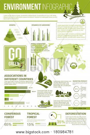 Ecology and environment protection infographic. World map statistics of go green associations, graph and chart with dynamics of gardening and growth, deforestation infochart with green tree icons