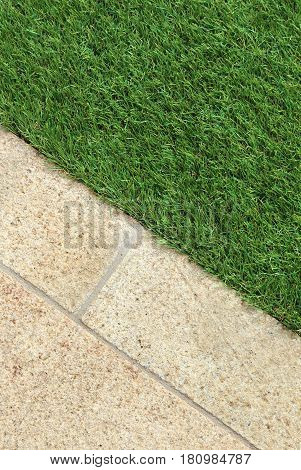 Landscaping combinations of artificial grass and outdoor tiles