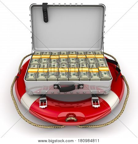 Financial security. Open suitcase filled with packs of US dollars lying on the lifeline. The concept of financial security. Isolated. 3D Illustration