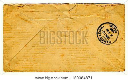 GOMEL, BELARUS - April 8, 2017: Reverse side of the postal envelope.
