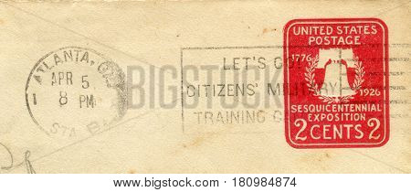 GOMEL, BELARUS, APRIL 8, 2017. Stamp printed in USA shows image of  The Sesquicentennial Exposition, circa 1926.