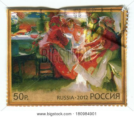 GOMEL, BELARUS, APRIL 7, 2017. Stamp printed in Russia shows image of  The Painting by Abram Arkhipov