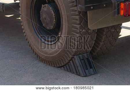 big double back wheel of the truck with an emphasis from any movement