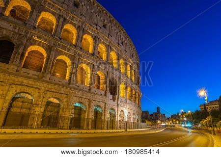 Rome Colosseum (Roma Coliseum) at night Rome Italy
