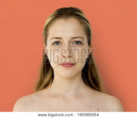 Young Adult Woman Serene Face Expression Studio Portrait