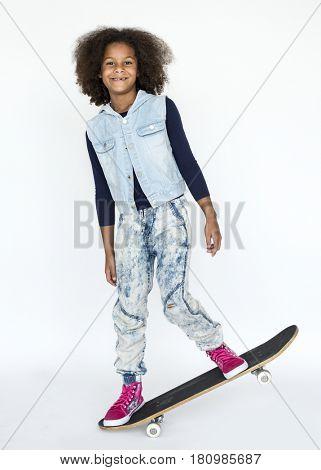 African descent girl skateboard hobby