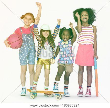 Little Children standing and raising hands
