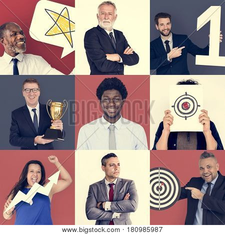 Collage of Diverse Group of Business People