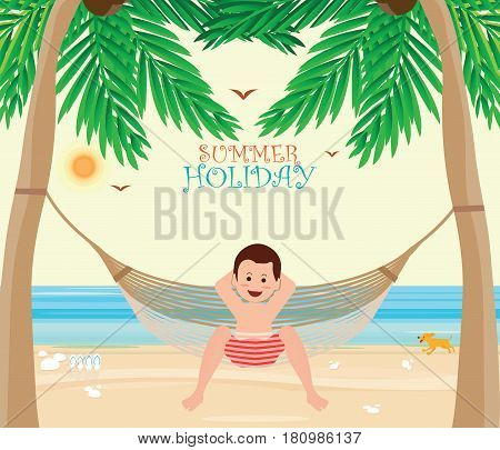 Man relax on the Beach cradle after hard working from office Relaxation concept vector illustration.