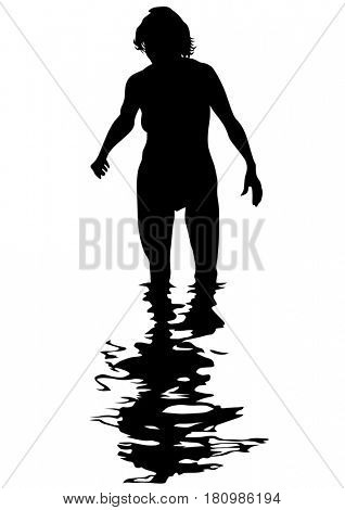 Beautiful girl in water on white background
