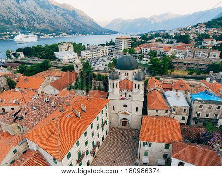 Church The Orthodox Church of St. Nicholas of Kotor, Montenegro, Kotor Bay, the Balkans, the Adriatic Sea.