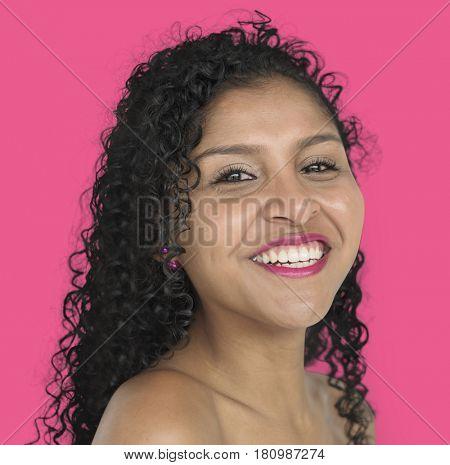 Woman Smiling Happiness Bare Chest Studio Portrait